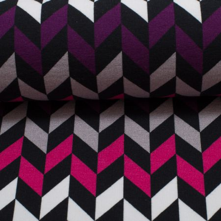 """Crazy Shapes"" by Lycklig Design, Sweat  leicht angeraut - Fischgrat grau-pink"