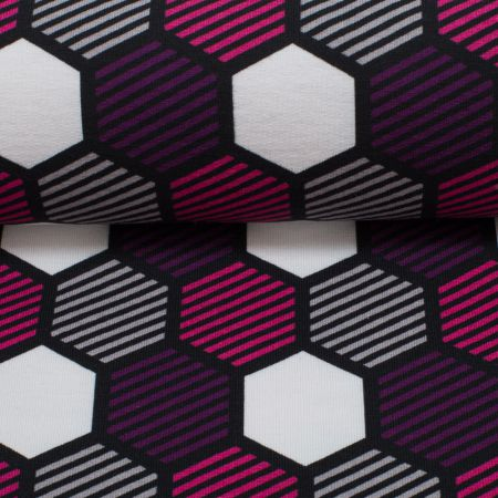"""Crazy Shapes"" by Lycklig Design, Sweat  leicht angeraut - Waben grau-lila-pink"