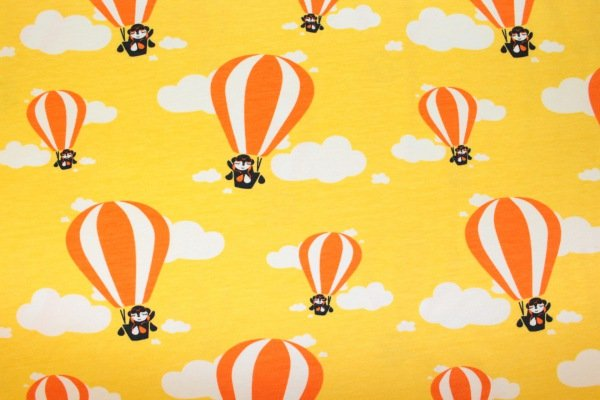 Paapii Design : Bio-Baumwolljersey - Hot Air Balloons - yellow / gelb  -