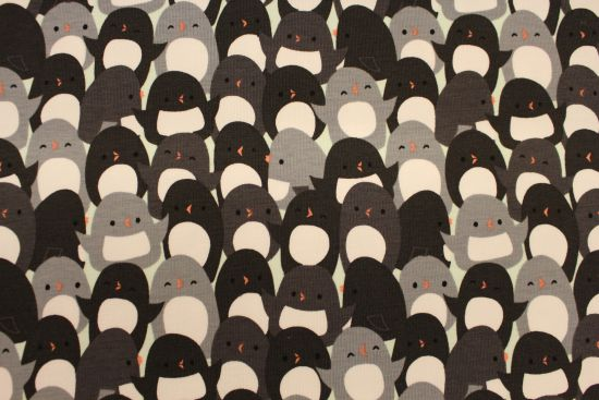 "Baumwoll-Jersey ""Oh what fun"" Pinguine anthrazit - by Camelot Fabrics"