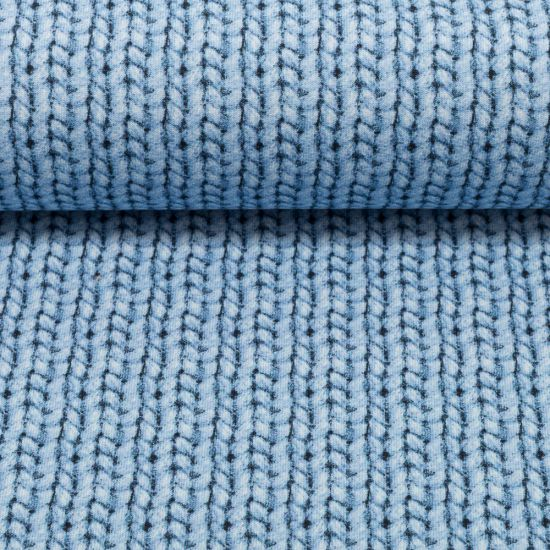 "Sommer-Sweat ""Cosy knitting"" by Cherry Picking - Strickmuster, hellblau"