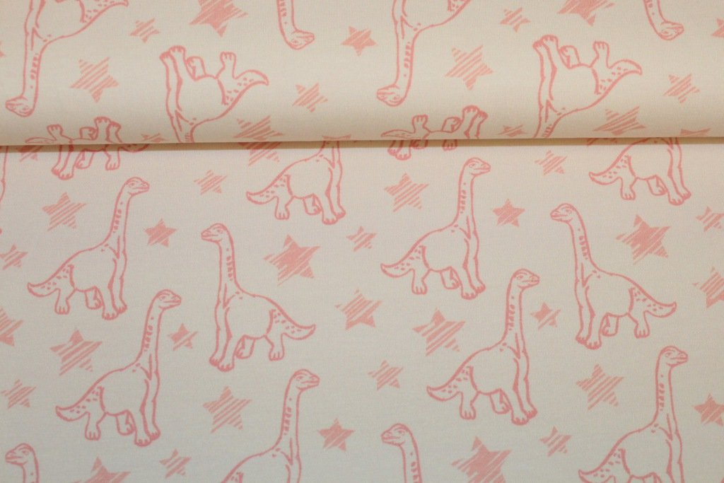 "Jersey - ""Dino Stars"" - Dinosaurier Sterne - rosa-creme"